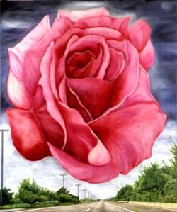 La Rose rose, l'huile sur toile 1.20x1.40m, MathildeTuyetTranFrance