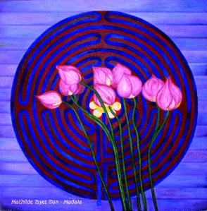 Mandala, tranh sơn dầu trên vải, 60 cm x 60 cm - Mathilde Tuyet Tran