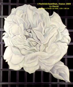 """Le Tableau """"La Liberté"""" (la rose blanche), peinture à l'huile sur toile de MathildeTuyetTran, 120 cm x 140 cm"""