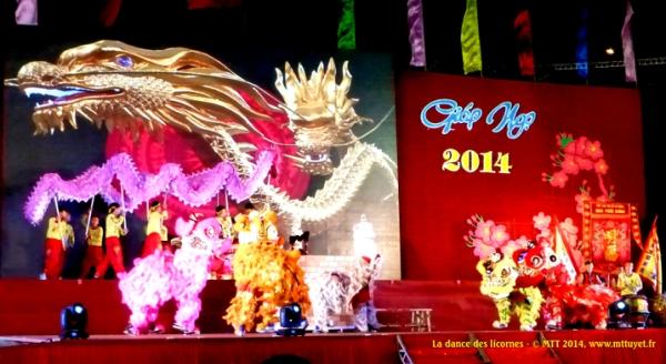 Múa lân -  La fête commence traditionellement avec la dance des licornes, du cheval et du dragon - Photo: MTT 2014